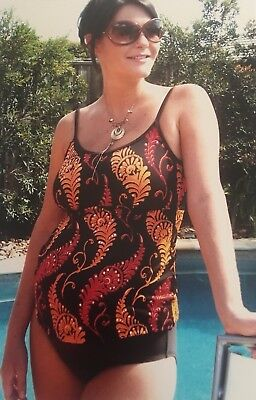 Size 10 Maternity Swimwear - Two Piece Tankini - Brown/ Orange/ Red (7/35)