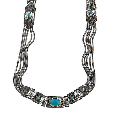 Savati ~ Sterling Silver Multi Chain Byzantine Necklace with Turquoise