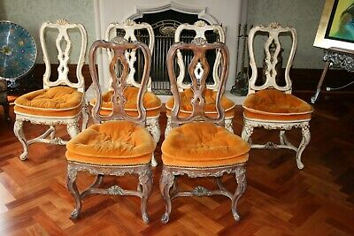 Vintage French Country Six Dining Room Chairs