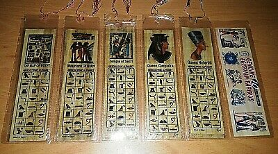 Lot 20 Large Egyptian Papyrus Paper Bookmarks Hieroglyphic Letters 7 x 2 in