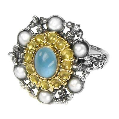 Gerochristo 2257 ~ Solid Gold, Sterling Silver & Gems Medieval Cocktail Ring