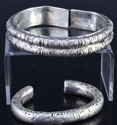 Pair Fine 19Thc Chinese Qing Dynasty Sterling Silver Bangle Bracelets Marks