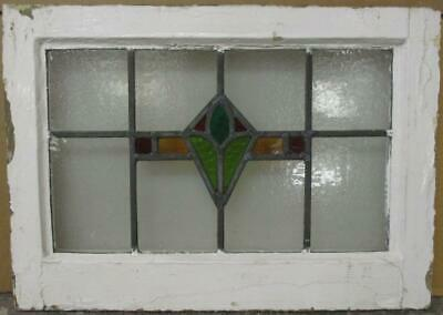 "OLD ENGLISH LEADED STAINED GLASS WINDOW Nice Geometric Design 20"" x 14.25"""