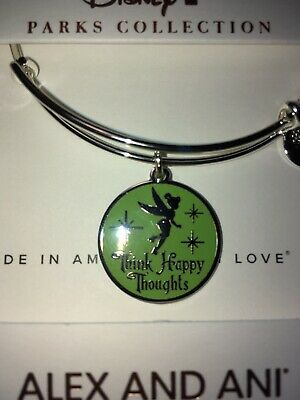 Disney Alex & And Ani Think Happy Thoughts Tinker Bell Silver Bracelet