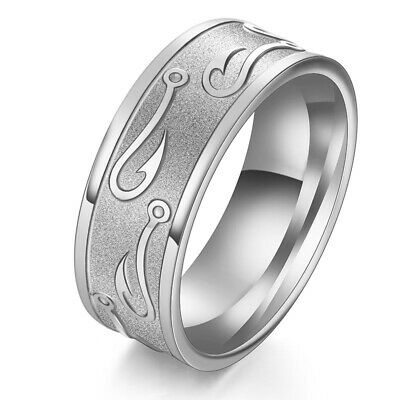 8mm Stainless Steel Tungsten Ring Man Band W/Carve Hook Up Pattern Size 7-13