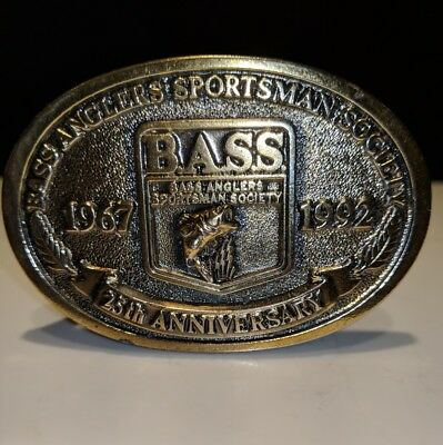 Bass Anglers 25th Anniversary Brass Belt Buckle 1967-1992 Sportsman Society