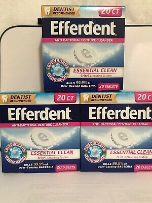Efferdent Anti-Bacterial Denture Cleaner - Complete Clean~ 20 Tablets