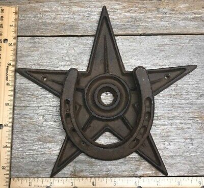 "Large Heavy 9"" Star Horseshoe Western Rustic Cast Iron Door Knocker"