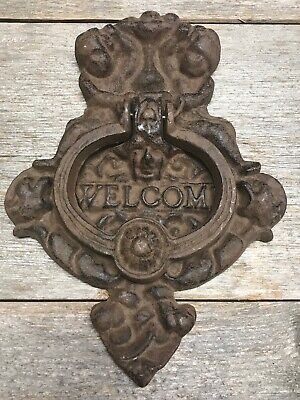Large Heavy Welcome Ornate Victorian Cast Iron Door Knocker Vintage style