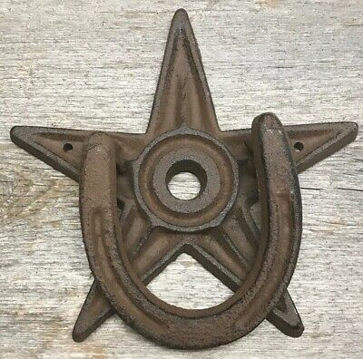 Cast Iron Door Knocker Heavy Star Horseshoe Western Design Barn Farm