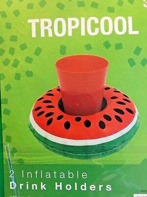 2 Pcs Inflatable Watermelon Floating Swimming Pool Beach Drink Can  Beer Holder