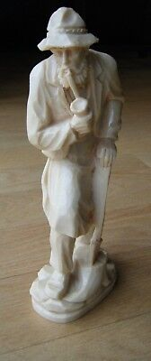 """Vintage Soapstone? Hand Carved Tree Cutter Old Man w/ Smoking Pipe 9.5"""" Detailed"""