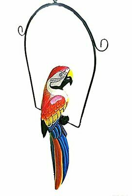 """Great Red 19"""" Handcarved & Painted Wood Hanging Parrott W/ Metal Perch & Hook!"""