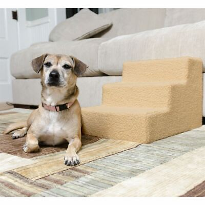 3-Step Indoor Pet Stairs Soft Synthetic Sheepskin Covered OPEN BOX