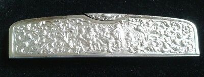 SPRITZER FUHRMAN Vintage Silverplate Pocket Comb w Case *Art Deco Heavy Repousse
