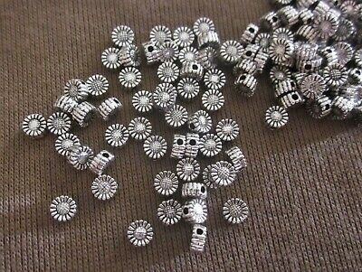 50 Antiqued Silver Coloured 5mm x 3mm Sunflower Spacer Beads #sp3435 Findings