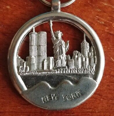 New York City Twin Trade Towers Statue of Liberty keychain RARE
