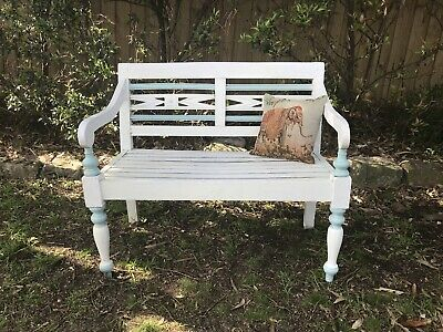 Charming Vintage Bench Chair~Painted Garden Patio Seat~2 Seater