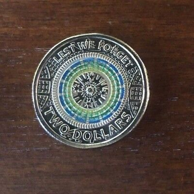 Australian $2 Two Dollar 2018 Coloured Lest we Forget 2017 Version UNC COIN RARE