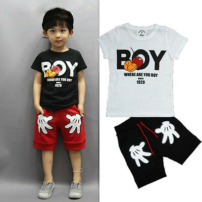 Mickey Mouse Kids Baby Boy T-shirt Tops+Shorts Pants Outfit Toddler Clothes 2-7Y