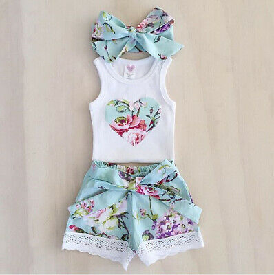 3PCS Toddler Baby Girls Vest Tops+Shorts Headband Outfits Summer Clothes Sets