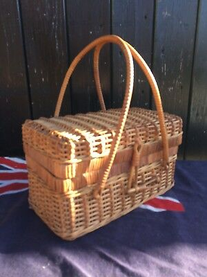 Small Vintage Wicker Sewing Basket / Knitting Basket Complete With Contents