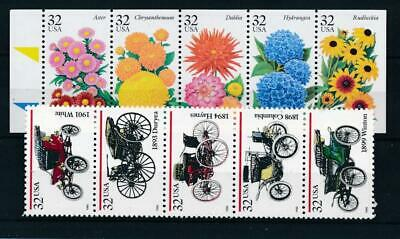 [305793] USA 1995 Flowers/Cars 2 good sets very fine MNH stamps
