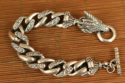 89g 100% 925 silver hand carved dragon statue bracelet Noble gift