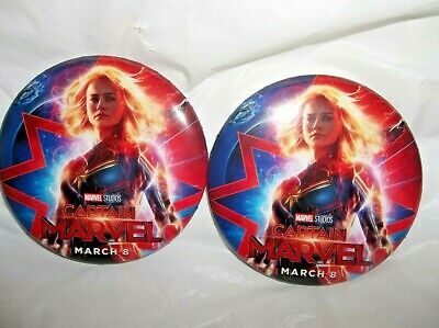 Disney Opening Day Movie Button Pin March 8, 2019-Captain Marvel-SET OF 2