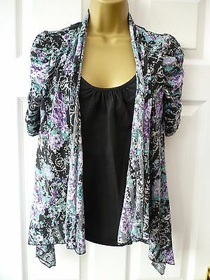 NO BOUNDARIES Ladies Size 8 10 Black Floral Lace Cut Out All In One Tunic Top