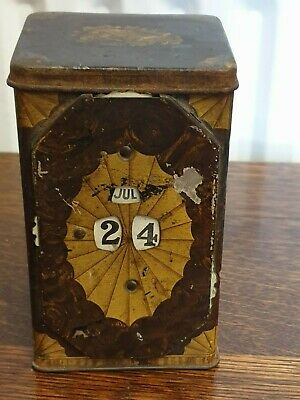 antique hand painted TIN with DESK CALENDAR