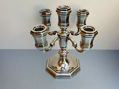 Beautiful Old Antique Solid 835 Sterling Silver 5 Light Candelabra Candlestick