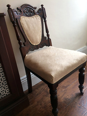 Antique Victorian Hand Carved Mahogany Hall Dining Bedroom or Occasional Chair