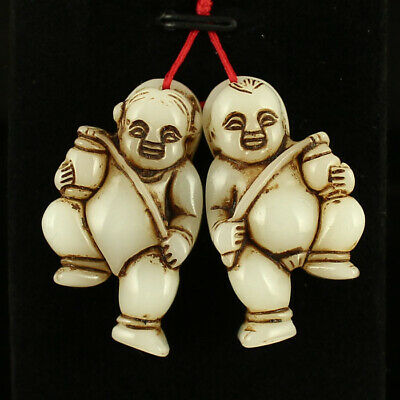 A pair China old antique Natural carved hetian jade Boy and girl Pendant