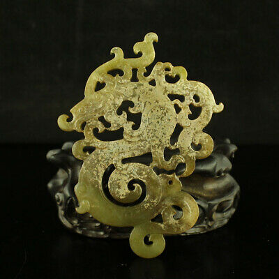 """4"""" China old antique 100% Natural handcarved hetian jade dragon statue Pendant"""