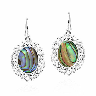 Victorian Inspired Oval Abalone Shell Inlay on Sterling Silver Dangle Earrings