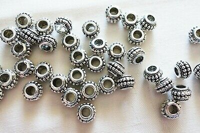 10 Antique Silver Coloured 6mm x 9mm Large Hole Spacer Beads 4mm Hole #0071