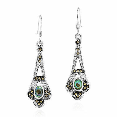 Ornate Marcasite & Oval Abalone Shell Inlay Sterling Silver Dangle Earrings