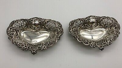 Pair of Antique Sterling Silver Small Bon Bon dishes Chester 1896 Heart Gift