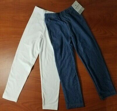 New Carters Girls Blue Jean Look And White Leggings Pants 2-Pack Size 5 Or 6