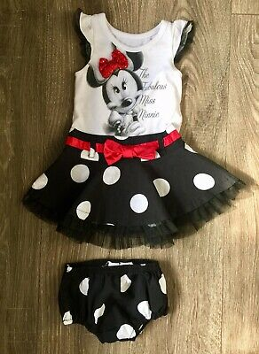 a4a67fc46 DISNEY BABY GIRLS Minnie Mouse Tutu Dress W Bloomers Size 18 Months ...