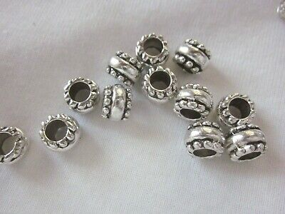 10 Antique Silver Coloured 7mm x 9mm Large Hole Bead Spacers #3800 Beading Craft