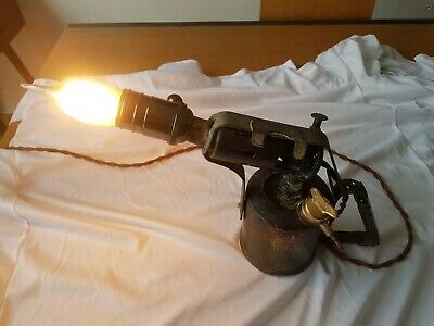 Upcycled industrial lamp. VINTAGE BRASS BURMOS BRITISH MADE PARAFFIN BLOW TORCH