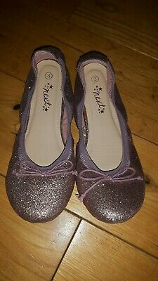 NEXT Older Girls Pink Glitter Flexi Ballerinas Size 3 UK 35.5 EU