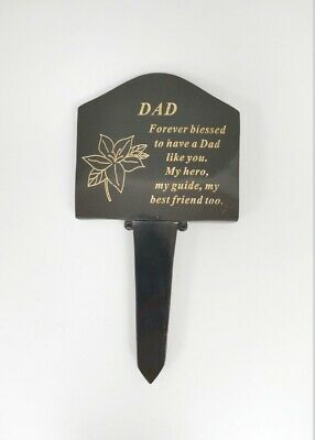 DAD Black & Gold Lily Memorial Grave Stake Ornament Remembrance Tribute