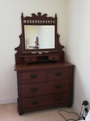 Antique Edwardian Mirrored Dressing Table 2 Over 2 Chest Of Drawers