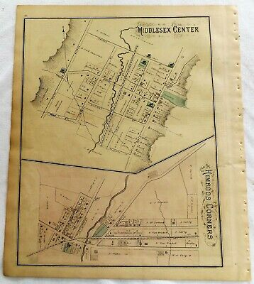 1876 NY  Middlesex Center Himrods Corners Yates County Original Atlas Map