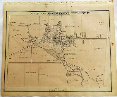 1876 NY Town of Dundee Yates County Original Atlas Map