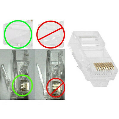 Lot100 FLAT STRANDED wire RJ45 Crimp-On cable End 8P8C modular cord connector$SH