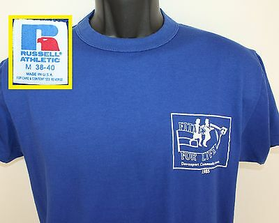 1985 Davenport Iowa Fitness For Life vintage t-shirt M blue 80s Russell Athletic